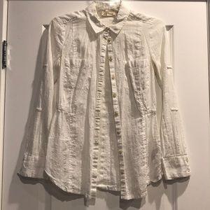 Barely worn, white blouse w/ silver stripes